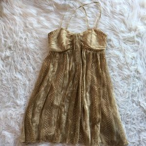 Express silk gold metallic cocktail dress 2